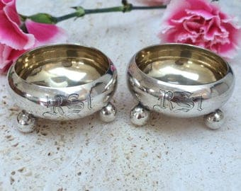 "Beautiful Pair Of Antique Russian Silver -Open Salts Cellars-Monogramed ""RSt""- St Petersburg 1872"
