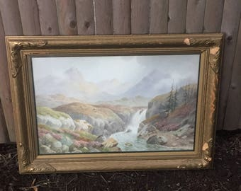 Charles E. Hannaford Original Watercolor Painting Scottish Mountain & Stream Framed