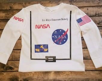 Children's NASA personalized Astronaut shirt. Great gift birthdays Christmas