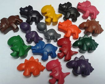 Dinosaur crayons, set of 6, party favours, children's party, gift, upcycled