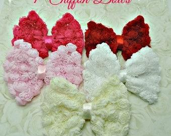 40% SALE WHOLESALE Rosette Chiffon Bows 4 Inch Chiffon Bows Shabby Vintage Looking Chiffon Rose Mesh Fabric Bow Accessory Hair Bow Garment B