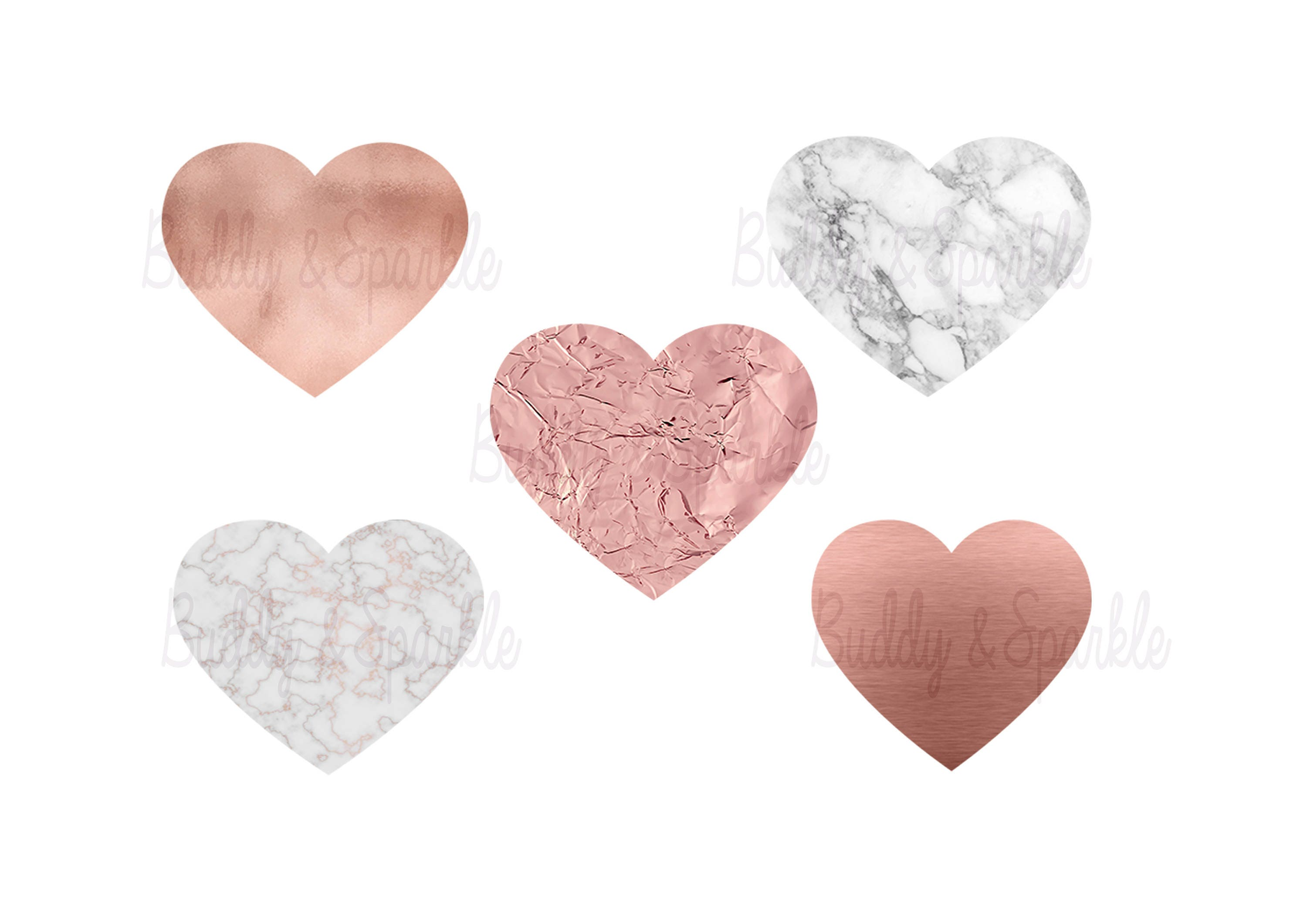 Rose Gold And Marble Hearts Clipart Png Foil Effect
