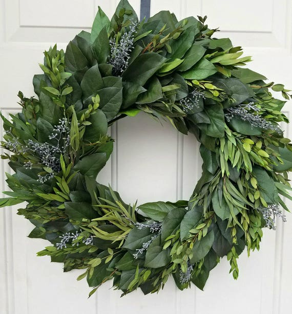"Custom sizes, preserved wreath, 24"" wreath, leaf wreath, large wreath, indoor wreath, eucalyptus wreath, natural wreath"