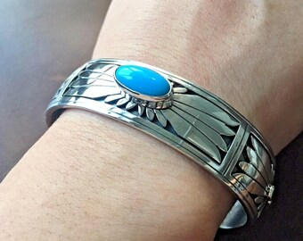 Native American Sterling Sleeping Beauty Cuff Bracelet Signed by Marita Benally