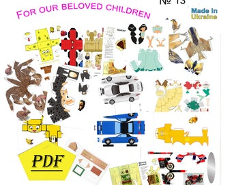 collection of various simple models,for children of different ages,paper model kit,3D paper craft model, printable, diy how to make, origami