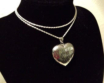 HUGE 3D Sterling silver textured heart pendant on rope chain necklace