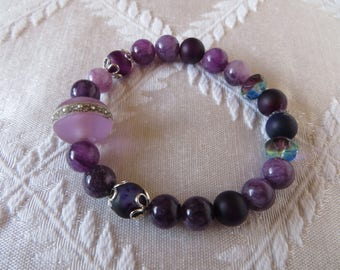 Purple & Silver Beaded Bracelet with Handmade Lampwork Glass Focal Bead