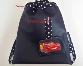 Kindergarten backpack, faux leather, pool bag, personalized