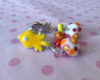Earrings with hand spun glass beads.