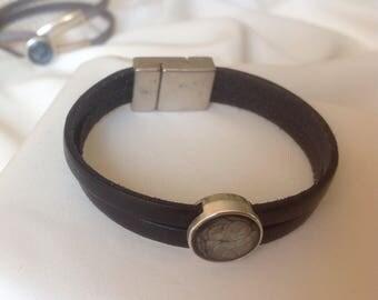 Unique black leather strap