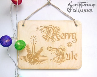 Yule decoration, Merry Yule sign, wiccan decor, pagan decor, druid neopagan witch, pagan Christmas, Yuletide blessings, Winter Solstice