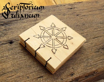 Star of Chaos journal, wooden journal, book of shadows, symbol of Chaos, Chaos magick, occult, Warhammer, geek gift, grimoire, Imbolc gift