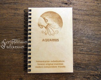 Aquarius journal, Aquarius gift, gift for him, gift for her, Aquarius man, Aquarius notebook, Aquarius planner, Aquarius book,Valentine gift