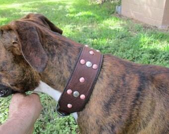 Decadent Dog Custom Leather Collars, Leather Dog Collars, Special Order Dog Collars, Buffalo Hide Dog Collars