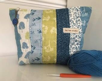 Unique Project Bag Medium Sized Zipper Pouch Dorset Button Stitchkeeper Crochet Knitting