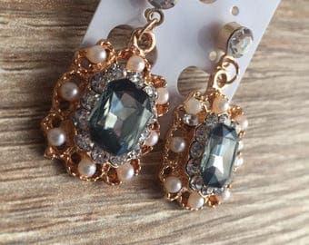 Gold Gem Drop Earrings Charcoal Grey
