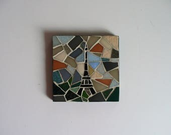Eiffel Tower square mosaic table