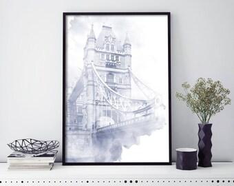 Tower Bridge, London Watercolour Print Wall Art   4x6 5x7 A4 A3 A2