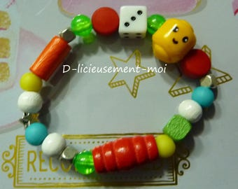 Children elastic bracelet various beads multicolor yellow polymer clay lego minifigure head