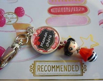 Bag hook cabochon 25 mm mommy daughter Fimo charm keychain