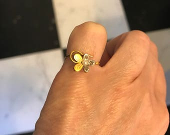 Conversion ring, victorian flower ring 14 ct