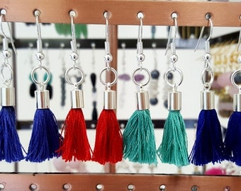 Mini Tassel & Silver Drop Earrings - Choose Colour