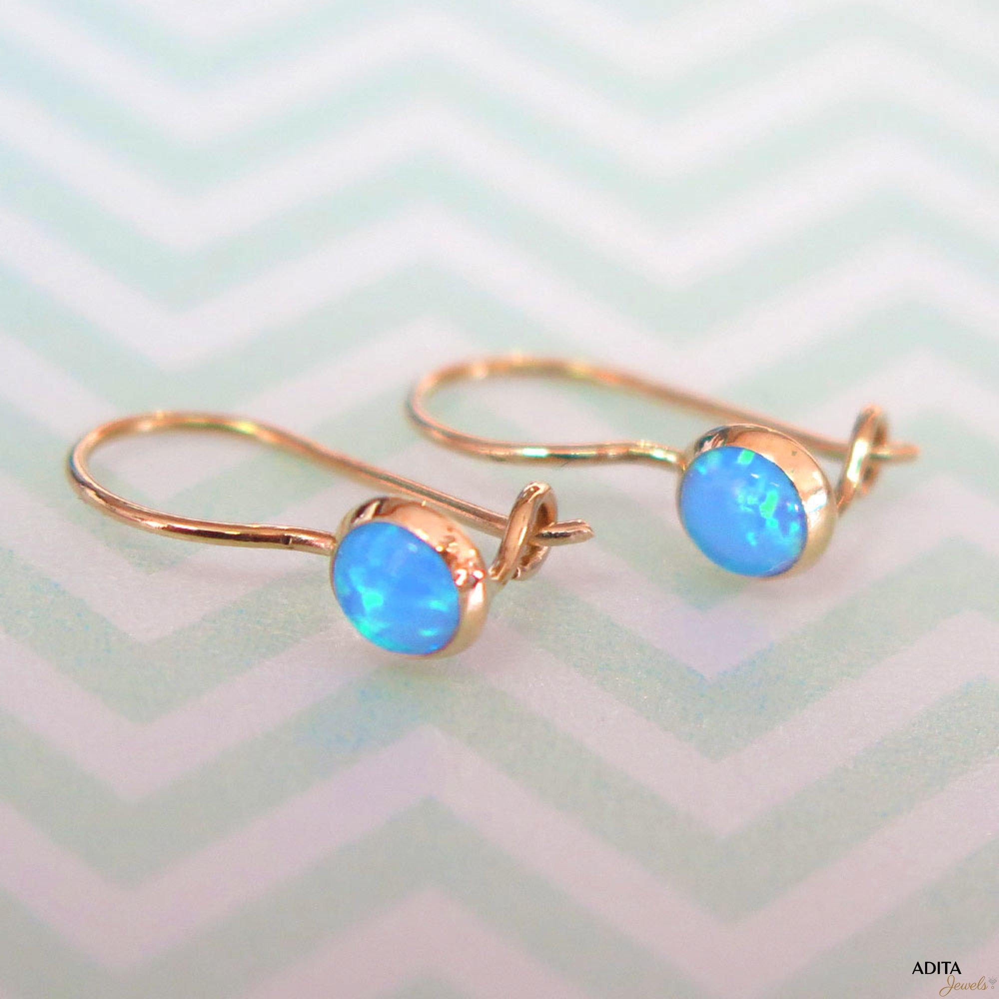 14k yellow gold blue opal earrings 14k opal drop earrings. Black Bedroom Furniture Sets. Home Design Ideas