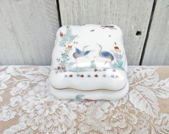 Whooping Crane Porcelain Trinket Jar, Wedding Gift, Engagement Gift, Mate for Life, Chantilly Limoges France, Trinket Box, Jewelry Box