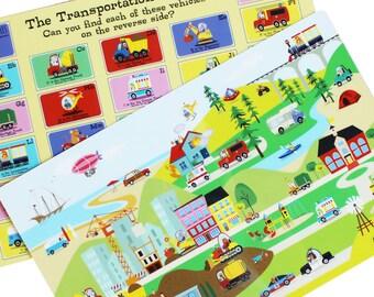 Kids Placemat, Toddler Placemat, Construction Placemat,  Playdough Mat, Cars Placemat, Kids Tableware, Activity Mat, Toddler Tableware,