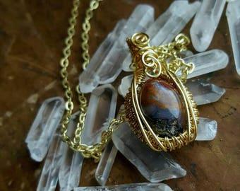"Gift for her // Handmade jewelry //""Colleen"" - Mini Hand Polished & Hand Wrapped Red Moss Agate in Gold Colored Copper Wire Pendant Necklace"