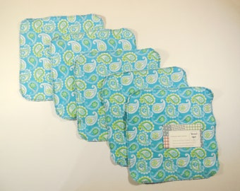 Washable wipes turquoise Paisley (Pack of 5)