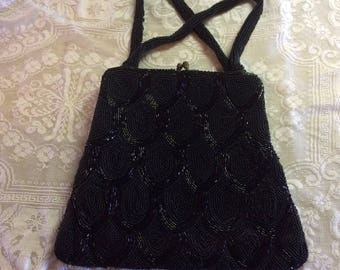 Vintage Purse, 1930-40's, Black Glass Beaded, Two Handle, Rhinestone Clasp, Great Lining, Made in Belgium,