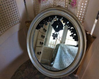 Antique Wall Mirror,  Oval Wood Framed with Applied Victorian Glass and Steel Beading, One of a Kind