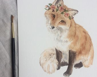 A4 Fox with Flower Crown