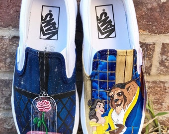 Beauty and the beast painted shoes - disney painted shoes