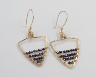 Smaller Gold Beaded Triangle Earrings #625
