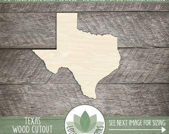 State Of Texas Wood Laser Cut Shape, DIY Craft Supply, Many Size Options, Wood State Shapes, Wood Texas