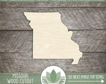 Missouri, Unfinished Wood Missouri Laser Cut Shape, DIY Craft Supply, Many Size Options
