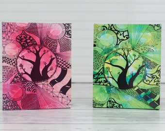 Zentangle Canvas Prints, Giclee Canvas Tree, Ready to Hang Gallery Wrapped Canvas, Pen and Ink Giclee Print, Zentangle Tree Art