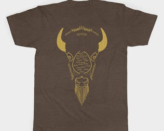 Animal T shirt, unisex t shirt, wildlife clothing, animal clothing, bison t shirt, bison t shirt design, bison design, screen printed shirt