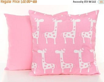 SALE ENDS SOON Set of Two Pink Pillow Covers, Pink Throw Pillows, Giraffe Print Pillow, Solid Pink Throw PIllow Cover, Soft Cotton, Baby Pin