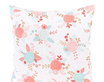 SALE ENDS SOON Pink Floral Throw Pillow Cover
