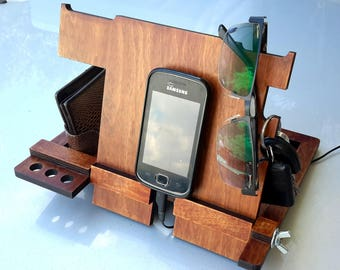 Docking Station,Gifts for men,Phone holder,wood Iphone Station,Electronics & Accessories,Desk Organizer,Table Organizer,Stand  iPhone  iPad