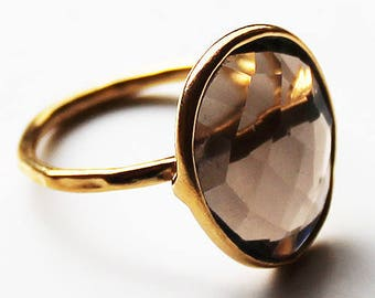 Faceted Semi-Precious Natural Brown Smokey Quartz Stone 18ct Gold Plated Statement Ring - Size 6