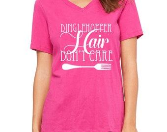 Disney Shirts Womens V Neck Dinglehopper Hair Dont Care Shirt disney shirt disneyland Disney World