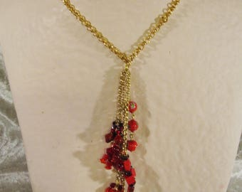 """Gold necklace mid-long """"big red button"""""""