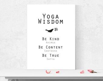 Yoga wisdom art print/ 8 limbs of yoga/ yoga wall art