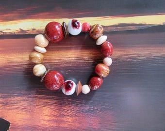 Boho - hippie-gypsy pearl bracelet ceramic ocher red- beige- ecru