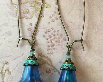 Blue Lucite Flower Earrings