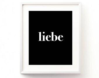 liebe print, love printable, German wall art, black and white decor, minimalist, typography print, romantic, wedding, modern nursery art